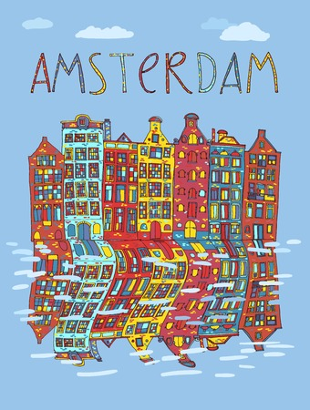 Amsterdam, vector hand drawn illustration. Travel , Europe. Vector