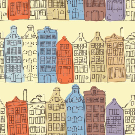 dutch tiles: Seamless sketchy amsterdam holland background. Row of old houses