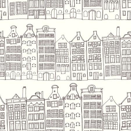 Naadloze schetsmatig amsterdam holland achtergrond. Rij van oude huizen