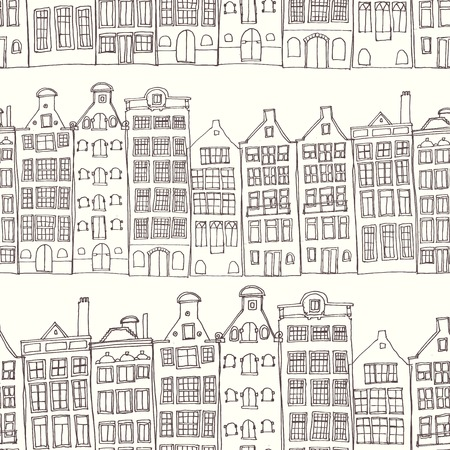dutch: Seamless sketchy amsterdam holland background. Row of old houses