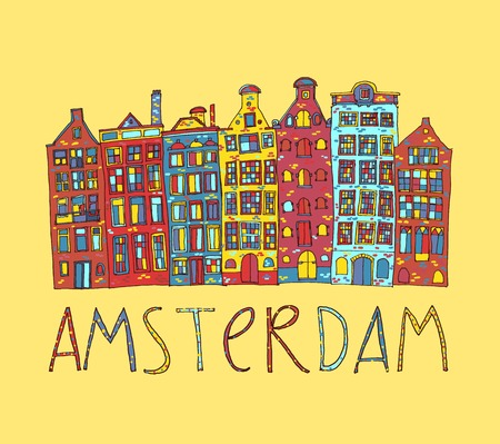 Amsterdam, vector hand drawn illustration. Travel , Europe. Vector