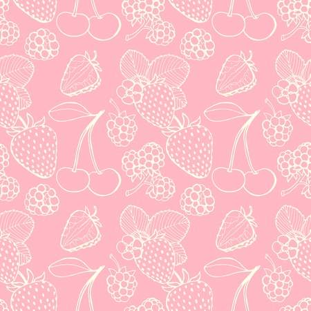 Seamless pattern  of delicious ripe berries, vector background Vector