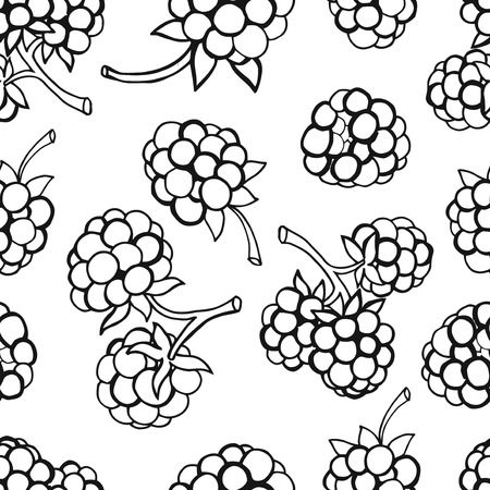 drupe: Seamless pattern  of delicious ripe berries, vector background