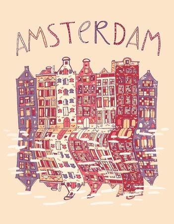 Amsterdam, vector hand getrokken illustratie. Reizen, Europa.