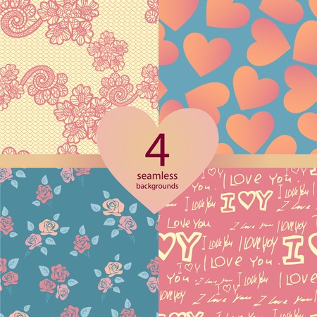 set of four pink wedding seamless backgrounds Vector