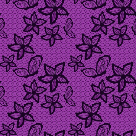 Flower lacy seamless background with butterfly, vintage vector illustration Vector
