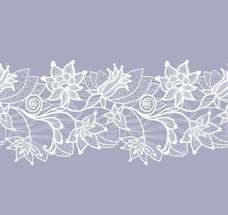아름 다운 꽃 레이스 벡터 배경, 원활한 패턴