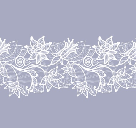 beautiful floral lace vector background, seamless pattern Çizim