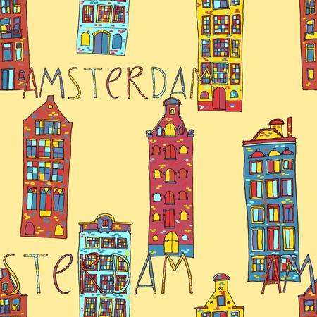 dutch tiles: Seamless sketchy amsterdam holland background. Vector illustration. Illustration