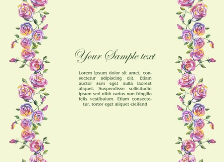 floral watercolor border and place for your text