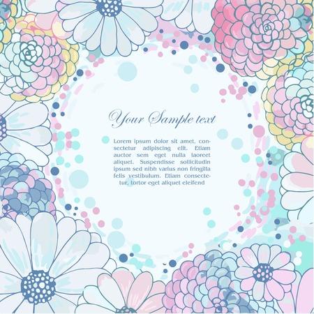 wedding background: floral watercolor border Illustration