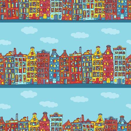 dutch tiles: Seamless amsterdam holland background