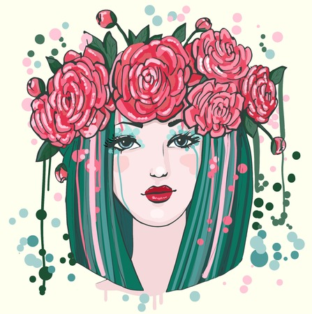 Beautiful women with flowers Vector