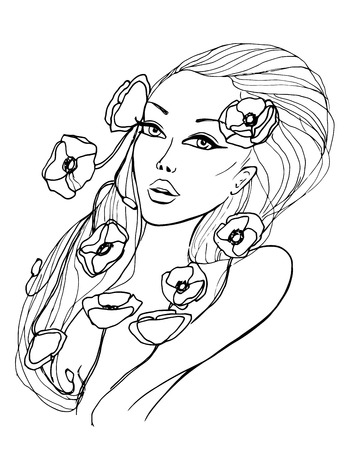 Portrait of beautiful young woman Illustration