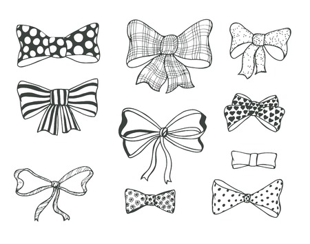 black ribbon bow: Set of bows, hand drawn Illustration
