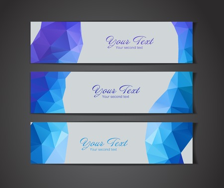 A set of modern blue vector banners with polygonal background