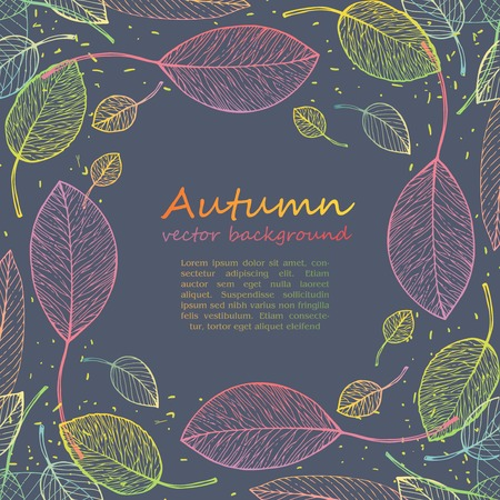 border frame of colorful autumn leaves Vector