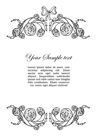 Ornamental frame with roses Vector