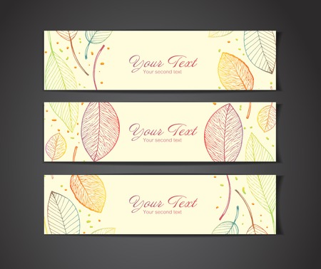 vector banners with autumn leaves