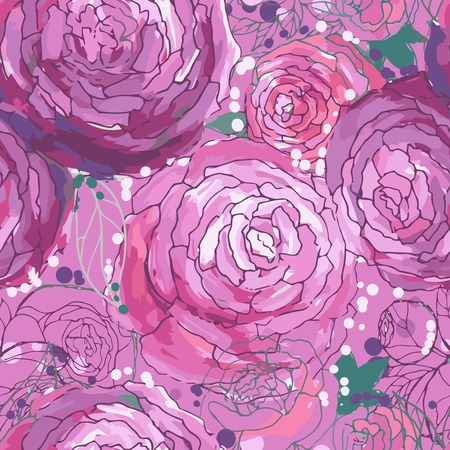 Seamless floral background with peonies, vector illustratiom