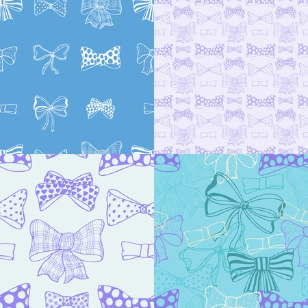 Set of bows, hand drawn Vector