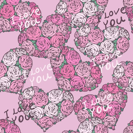 saint valentine s day: seamless pattern with hearts made of red rose
