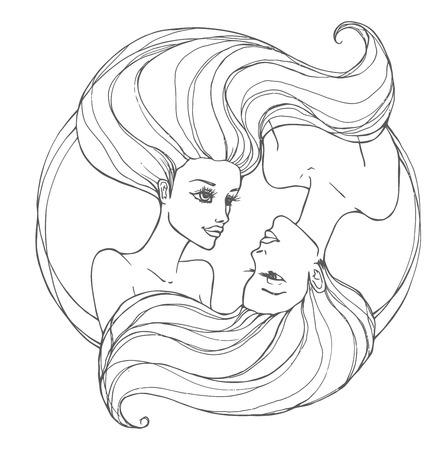 fiatal nők: Két gyönyörű fiatal nő, hosszú hajú Illusztráció