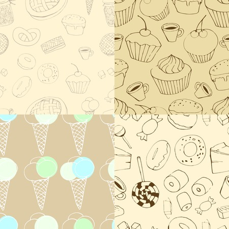 candy shop: four seamless patterns. Holiday seamless pattern  with macaroon, coffee and cupcakes Illustration