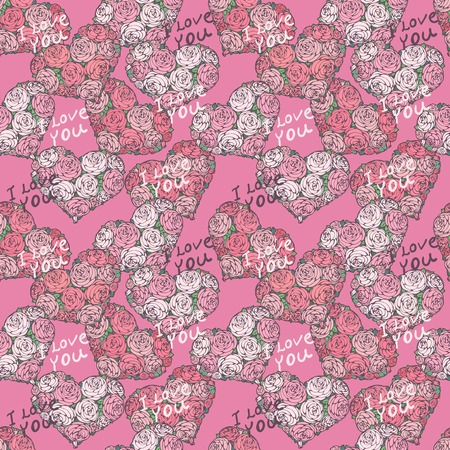 seamless pattern with hearts made of red roses. wedding illustration. Vector