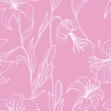 lily vector: Vector seamless floral pattern with flowers. Wallpaper with lily, vector illustration Illustration