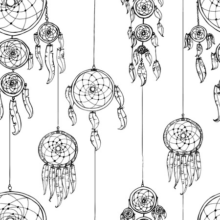 catcher: Seamless  illustration with dream catchers