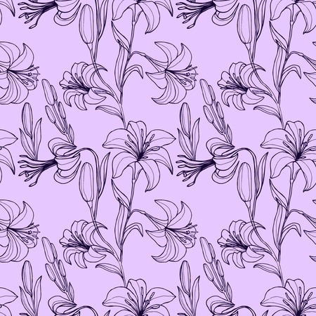 plant design: Vector seamless floral pattern with flowers. Wallpaper with lily, vector illustration Illustration