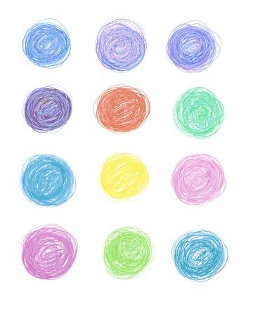 set of hand-drawn circles
