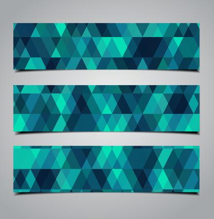 three geometric banners Vector