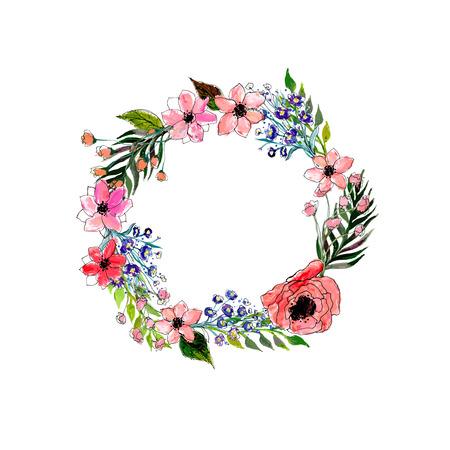 laurel leaf: Watercolor flowers wreath