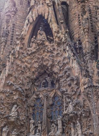 deatil: Sagrada Familia by Antoni Gaudi in Barcelona Spain, deatil outdoor Editorial