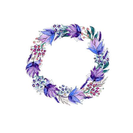 Waterverf van bloemen krans Stock Illustratie