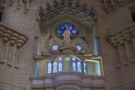 gothic build: Barcelona, Spain- September 18, 2014: Sagrada Familia by Antonio Gaudi, indoor