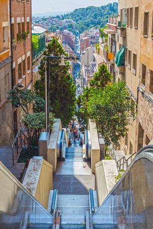 BARCELONA, SPAIN - SEPTEMBER 15: Street with escalator. September 15 2014 Barcelona.