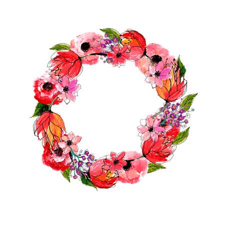 Flores de la acuarela ofrenda floral Foto de archivo - 39756954