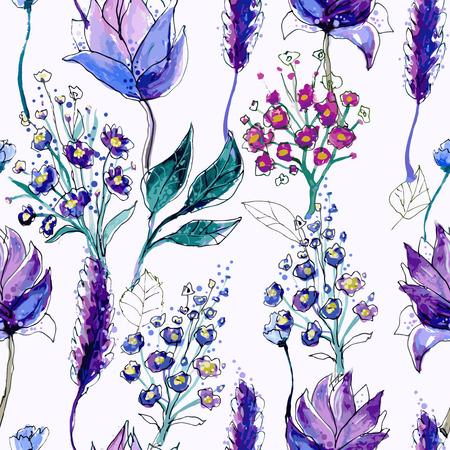 bouquet fleurs: Seamless motif floral  Illustration