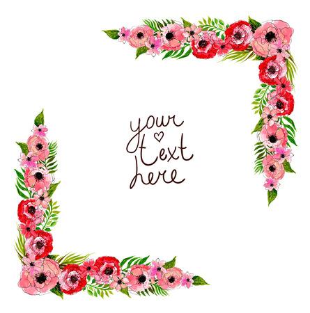 floral frame met roze bloemen