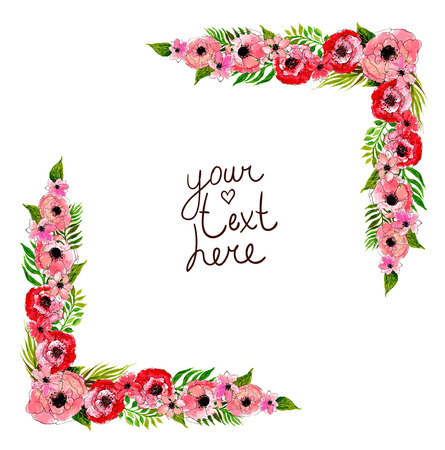 floral frame with pink flowers