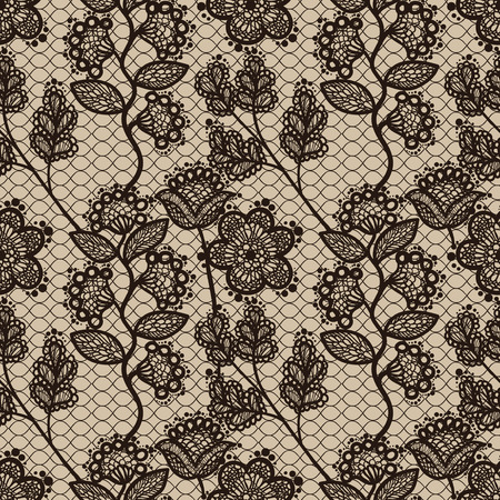 Brown seamless floral lace pattern, vintage background