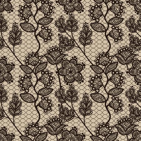 Brown naadloze bloemen kant patroon, vintage achtergrond Stock Illustratie