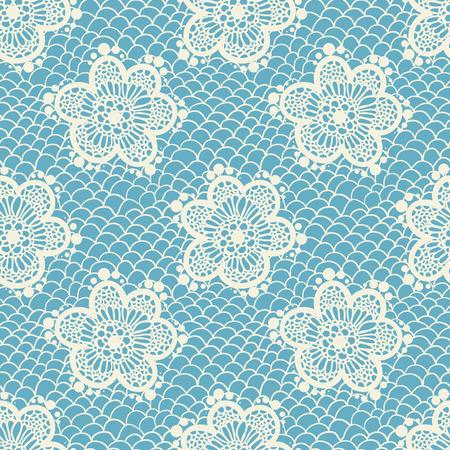 Blue gentle seamless lace pattern, vintage background Çizim