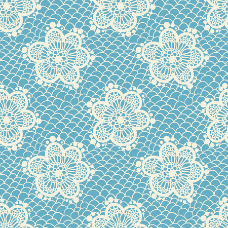Blue gentle seamless lace pattern, vintage background Illustration