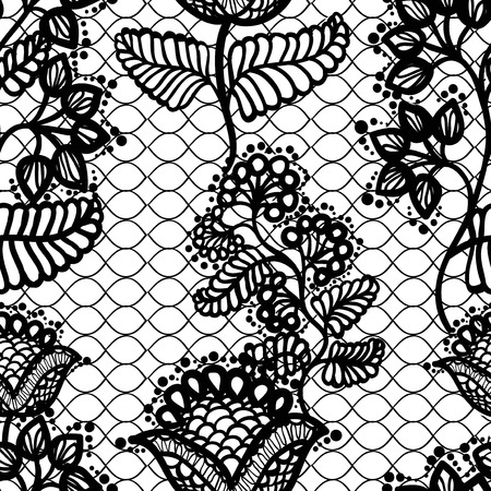 lace fabric: black and white gentle seamless floral lace pattern, vintage background Illustration