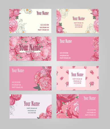 Beautiful pink vintage floral business cards, vector