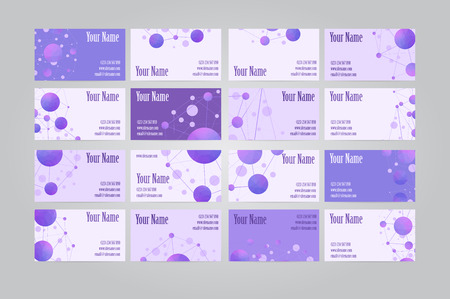 dieci: Set of sixteen violet scientific geometric visit cards